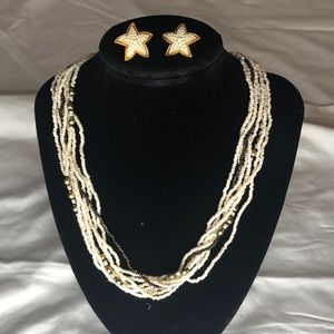 Beaded Gold and Cream Necklace with earrin…